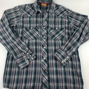 Ariat Vented Plaid Button Up Shirt Men's Size M